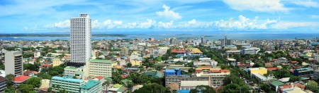 sea life centre: Panorama of Cebu city. Cebu is the Philippines second most significant metropolitan centre and main domestic shipping port. Stock Photo