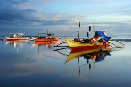 philippines: Tropical landscape with traditional Philippines boats , Philippines Stock Photo