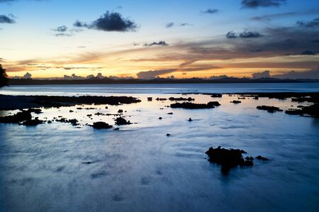 Beautiful sunset at Cloud 9, Siargao island , Philippines. Long exposure Stock Photo - 14658836