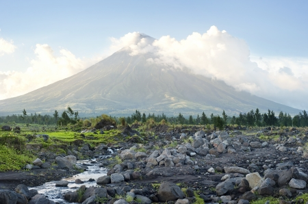 The Mayon Volcano - active volcano rising 2,462 metres,  known as the  most perfectly cone-shaped volcano.Location on  Luzon island, Philippines