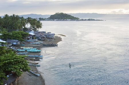 Aerial view on traditional Philippines fisherman village at sunset. Leyte Island Stock Photo - 14721836