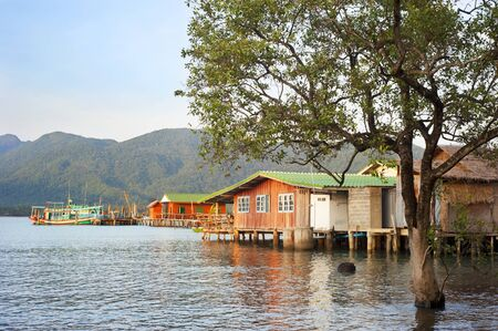 Traditional thai fishermans village photo