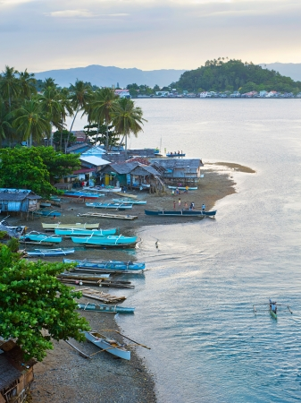 Aerial view on traditional Philippines fisherman village at sunset  Leyte Island Stock Photo - 15125666