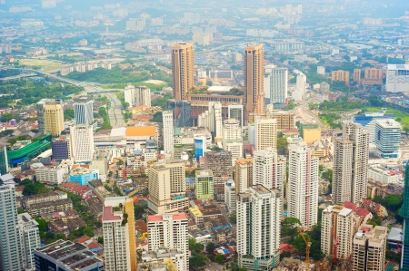 building external: Aerial view on Kuala Lumpur from KL Tower Stock Photo