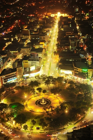 happenings: Cebu, Philippines - May 18, 2012:  Fuente Osmena Circle at night. Fuente Osmena circle was built on February 13, 1912. Now is the center for cultural, social, and political happenings of Cebu.