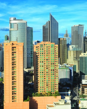 Aerial view on Makati city - modern financial and business district of Metro Manila, Philippines photo