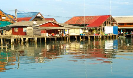 Traditional thai fishermans village