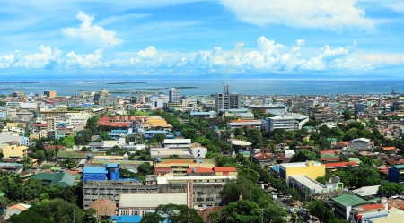 Panorama of Cebu city. Cebu is the Philippines second most significant metropolitan centre and main domestic shipping port. Stock Photo