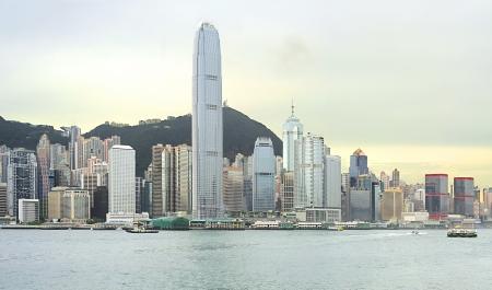 hong kong skyline: Victoria bay at sunset. Hong Kong