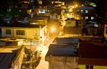 squatter: Aerial view on slums at night in Legaspi city, Philippines