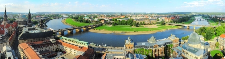 panoramic roof: Aerial view on Dresden from Frauenkirche church  Germany Stock Photo