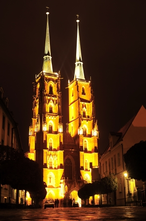 The Cathedral of St  John the Baptist in Wroc&Aring,'aw at night  photo