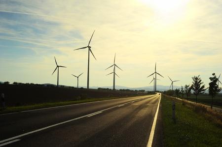 industrial park: Turbine in a windfarm generating alternative energy Stock Photo