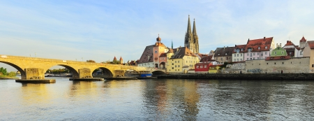 Regensburg at sunset, Germany. Medieval city center photo