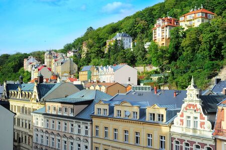 karlovy: Buildings in the historical centre of  Karlovy Vary, Czech Republic Stock Photo