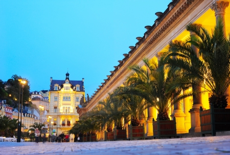 Karlovy Vary thermal mineral springs colonnade, Czech Republic.