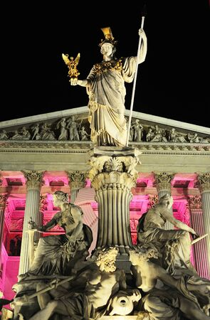 Pallas Athena, stone figure, Vienna, stands in front of the Austrian parliament  photo