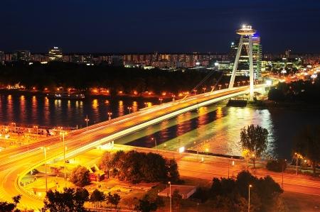 La maggior parte Slovenskeho na? Rodneho povstania. Ponte della Rivolta Nazionale Slovacca a Bratislava, in Slovacchia.