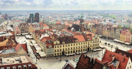 Piazza del Mercato a Wroclaw, Polonia Archivio Fotografico