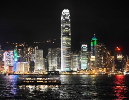 Skyline of Hong Kong island from Kowloon island photo