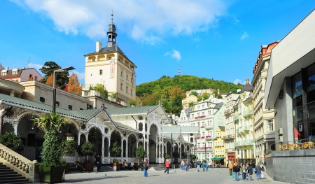 karlovy: Karlovy Vary, Cszech Republic -  September 20, 2012: Hot springs colonnade  in Karlovy Vary. Karlovy Vary historically famous for its hot springs (13 main springs, about 300 smaller springs) Editorial