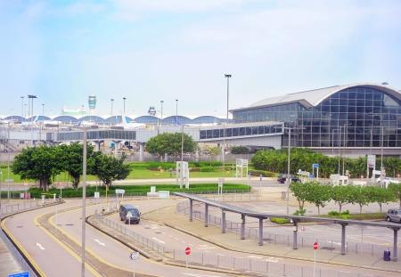 glass fence: View of Hong Kong International Airport