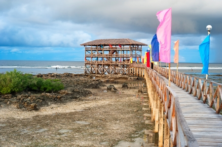 Viewpoint in the ocean at Cloud Nine surf point, Siargao island , Philippines Stock Photo - 16838281
