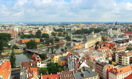 Aerial view on Wroclaw from  Cathedral of St  John the Baptist  Wroclaw is the historical capital of Silesia