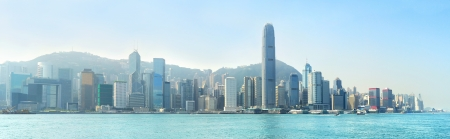panoramic business: Panoramic view of Hong Kong island in the sunshine day Stock Photo