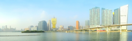 Panorama of Macau city center in the sunshine day photo