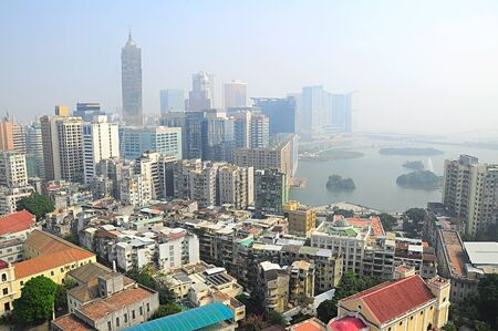 macao: Aerial view of Macau in the morning.