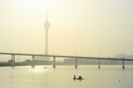 Macau Tower Convention and Sai Van bridge in the morning photo