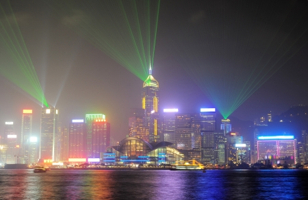 nighttime: A Symphony of Lights is a synchronised building exterior decorative light and laser multimedia display, featuring 44 buildings on both sides of the Victoria Harbour