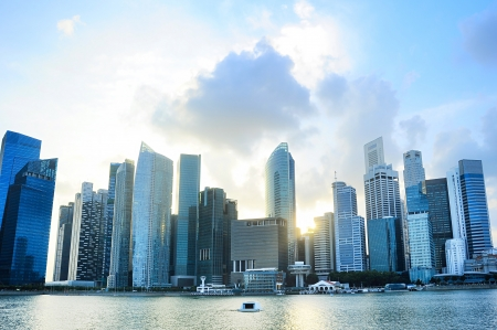 Singapore downtown at sunset