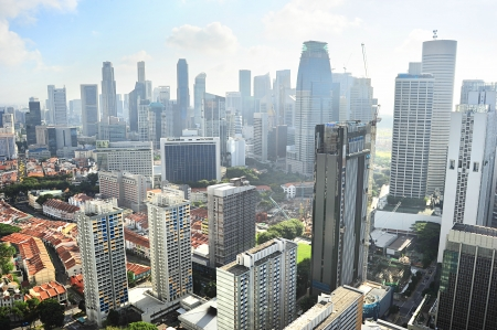 birdseye view: Birds-eye view of Singapore downtown in the sunny morning Stock Photo