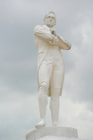Statue of Sir Tomas Stamford Raffles - best known for his founding of the city of Singapore.   Editorial