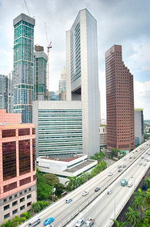 south east: Office buildings and highway in Singapore Stock Photo