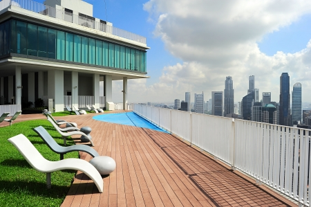 pool symbol: Lounge on top of scyscraper in Singapore Stock Photo