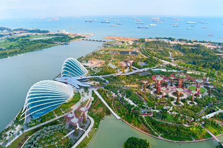 singapore building:  An aerial view of Gardens by the Bay in Singapore  Gardens by the Bay is a park spanning 101 hectares of reclaimed land
