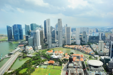 waterfront property: Birds eye view of Singapore riverbank in the sunshine day