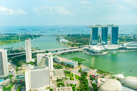 Birds eye view of Singapore in the sunshine day photo