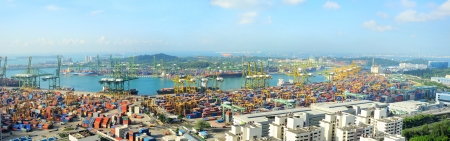 tonnage: Singapore, Republic of Singapore - March 07, 2013: Singapore industrial port. It is the worlds busiest port in terms of total shipping tonnage, it tranships a fifth of the worlds shipping containers.