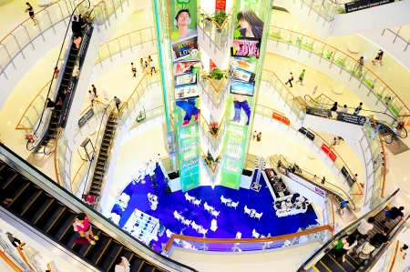 Bangkok, Thailand - March 04, 2013: Central World shopping plaza in Bangkok. Its the third largest shopping complex in the world. CentralWorld has 550,000 square metres of shopping mall and 1,024,000 square metres of complex