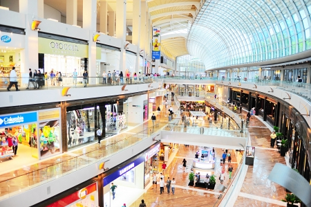 Singapore, Republic of Singapore - March 08, 2013: Shopping mall at Marina Bay Sands Resort. It is billed as the worlds most expensive standalone casino property at S$8 billion