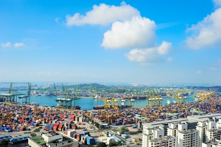 commerce and industry: Singapore, Republic of Singapore - March 07, 2013: Singapore industrial port. It is the worlds busiest port in terms of total shipping tonnage, it tranships a fifth of the worlds shipping containers.