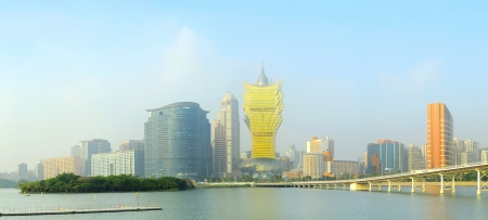 lisboa: Colorful skyline of Macau city center  Editorial