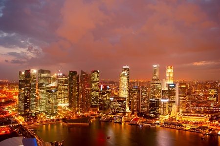 View on Singapore from Marina Bay at dusk