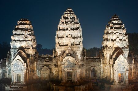 Prang Sam Yot, the Khmer temple in Lopburi at night photo