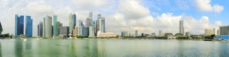 Skyline of Singapore with reflection in the  river Stock Photo