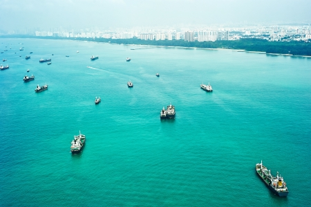 harbors: Many ships in Singapore harbor. Aerial view